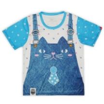 貓咪吊帶褲-粉藍
